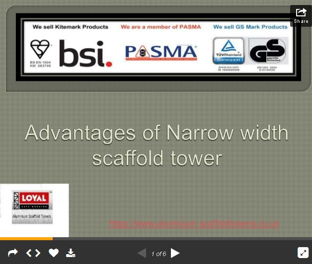 Benefits of narrow width scaffold tower Know some different about narrow width scaffold tower and boss scaffold towers before buying scaffolding for your business, you can call for details or visit website. #NarrowWidthScaffold tower #BossScaffoldTowers #BuyScaffolding http://slidesha.re/1F6Irlx