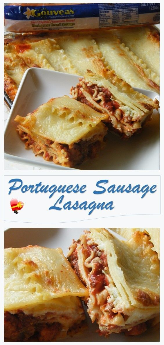 Best ever Portuguese sausage lasagna recipe. It's so cheesy, meaty and so flavorful with our local Portuguese sausage. Get more island favorites here.