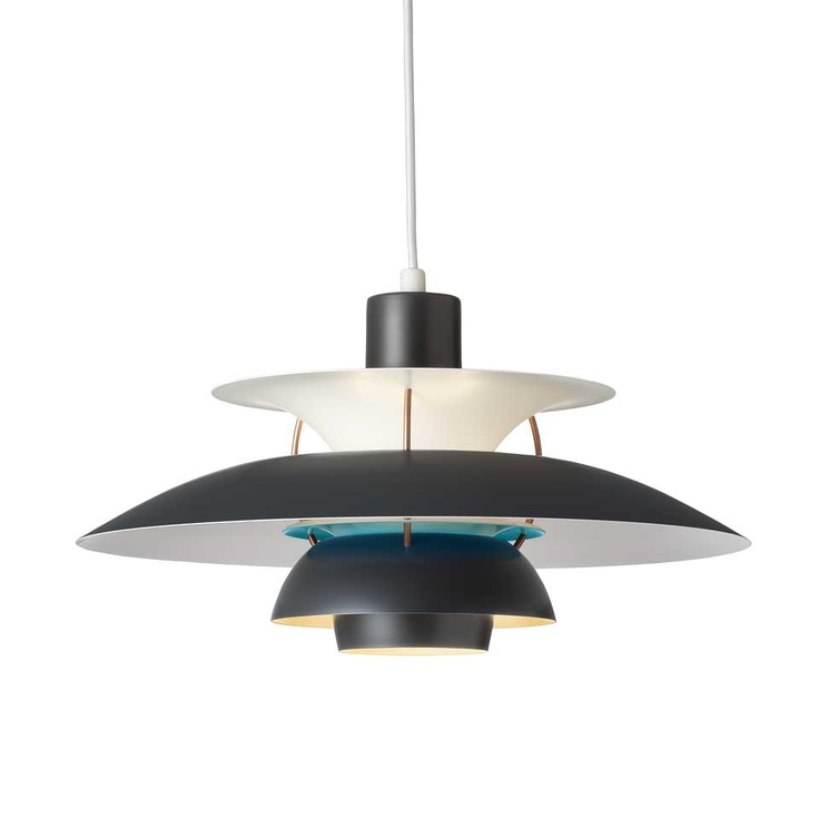 Louis Poulsen - PH5 Pendant in Dark Grey/Turquoise. For more information and inspiration have a look here: http://www.shop.louispoulsen.dk/