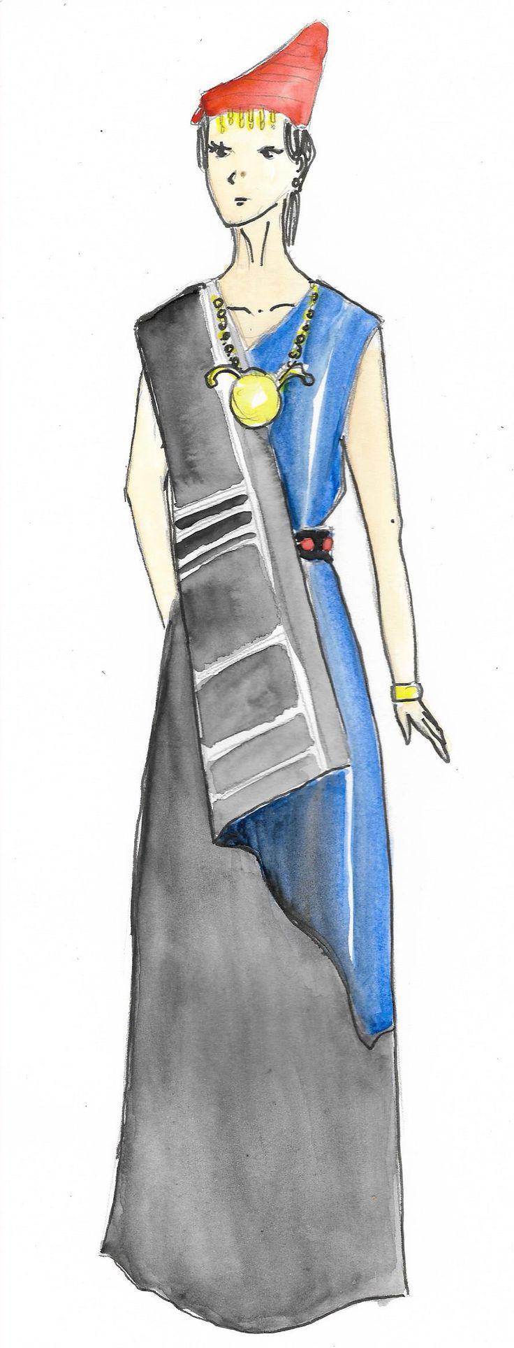 "Pakaian Tradisional dari Nusa Tenggara Barat, Indonesia.   Pakaian adat wanita suku Sasak disebut lambung. Pakaian ini terbuat dari kain pelung. Bentuk kerahnya menyerupai huruf ""V"". Di bahu kanannya terdapat songket. Coraknya senada dengan ikat pinggang yang disebut anteng. Aksesori yang dipakai adalah gelang, gelang kaki perak, kalung emas, ikat kepala dan anting-anting bulat."
