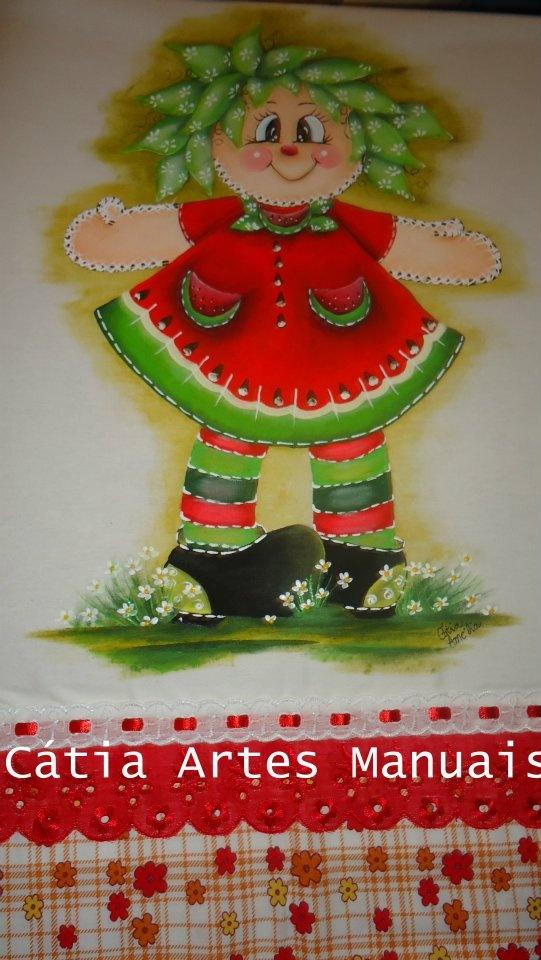 Boneca Melância http://www.catiaartesmanuais.com/
