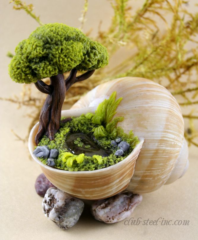 "Polymer clay ""topiary miniature garden"" inside a spiral sea shell"
