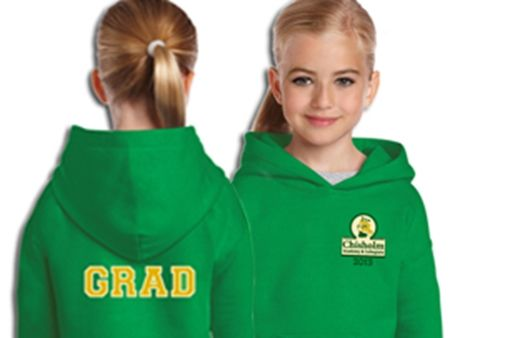 The choice is yours on how to customize any garment.      Embroidered school logo and crest     Printed designs     Embroidered twill numbers and or letters     Graduate names and year