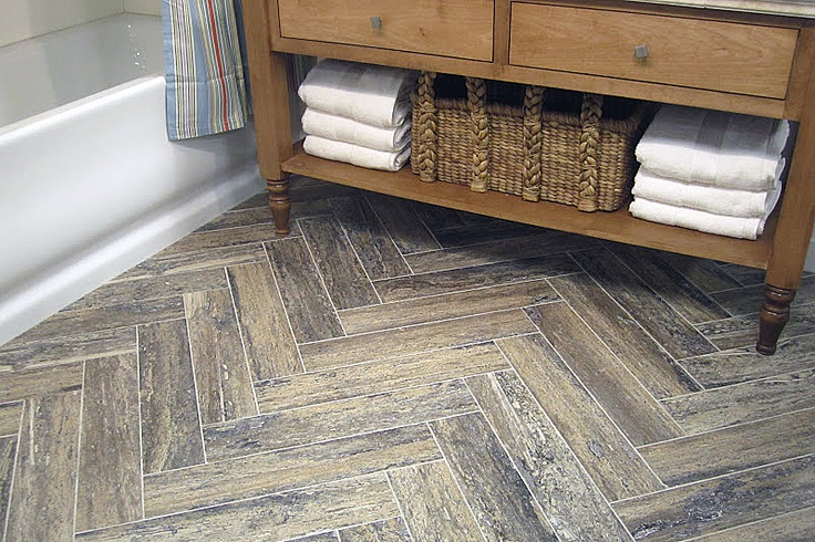 Travertine Herringbone Floor Pattern Bathroom