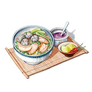 Bún Mộc Moc vermicelli noodle soup is originated from Ha Noi city (Vietnam). The noodle is served with broth made from stewed pork bones and ribs, and sliced roasted cinnamon pork pate. From my artbook Vietnam Delicious. #illustration #illustrator #foodillustration #vietnammienngon #vietnamdelicious #vietnam #vietnamtravel #vietnamese #recipe #delicious #cuisine #artwor #watercolor #watercolour #vietnamesefood #hanoicity #monngonvietnam #art #artist #instagood #instafood #instaeat #instaart…