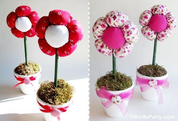 Como fazer vasos com flores de fuxico com enchimento passo a passo para lembrancinha do dia das mães, lembrancinha aniversário infantil, centro de mesa