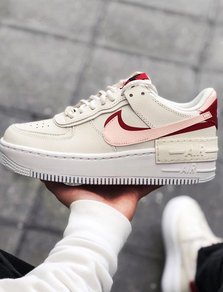 Nike Air Force 1 white, red and pink Shadow Pack sneakers ...