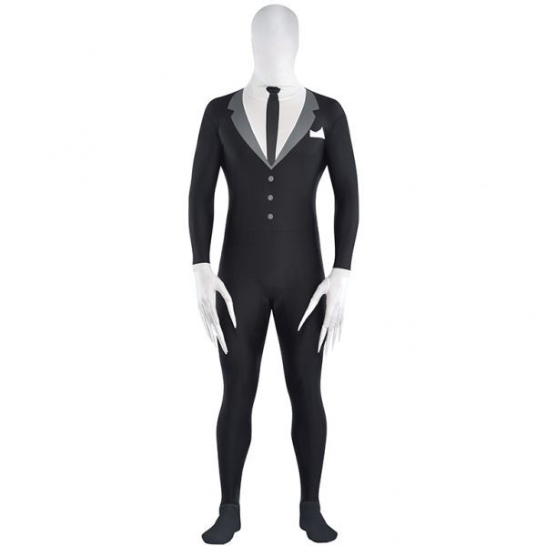 Adults Mens Slenderman Costume Halloween Slender Man Fancy Dress Party Suit