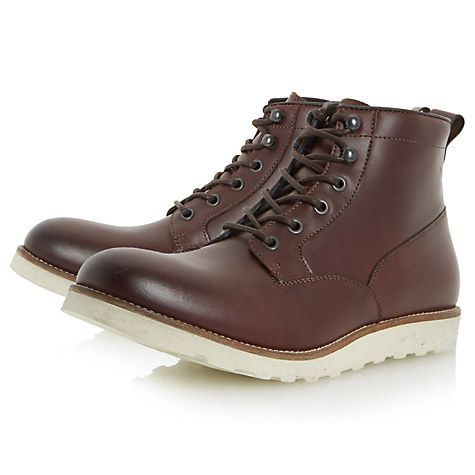 Buy Dune Conrad Wedge Sole Lace-Up Leather Boots, Burgundy from our Men's  Shoes & Boots range at John Lewis.