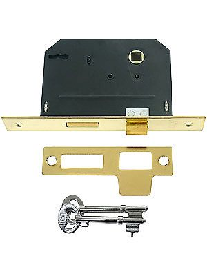 """Standard Mortise Lock with Strike Plate and Keys - 2 1/4"""" Backset in Bright Brass 