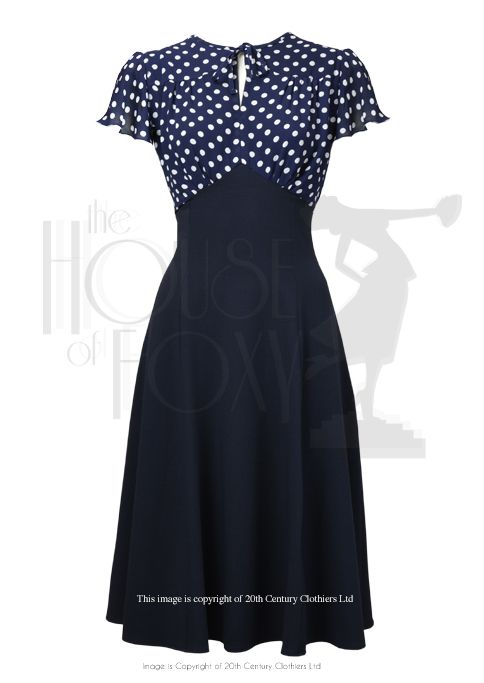 40s Grable Tea Dress - Navy Polka
