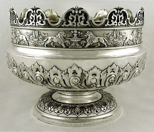 A Victorian period reproduction of a c1685 Charles II period monteith bowl - this English sterling silver montieth or punch bowl is by James Dixon & Son, Sheffield c1905 (supershrink)