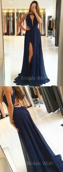 Pretty Navy Blue Lace Top Deep V-Neck Halter Side Slit Evening Prom Dresses, BW0535 Pretty Navy Blue Lace Top Deep V-Neck Halter Side Slit Evening Prom Dresses, BW0535