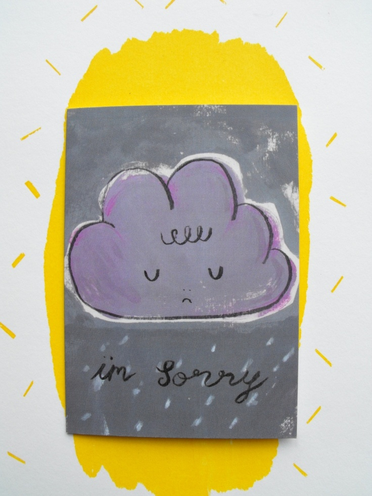 This cloudy rainy illustrated card is perfect to send condolences, or to say you're sorry to someone in your life...