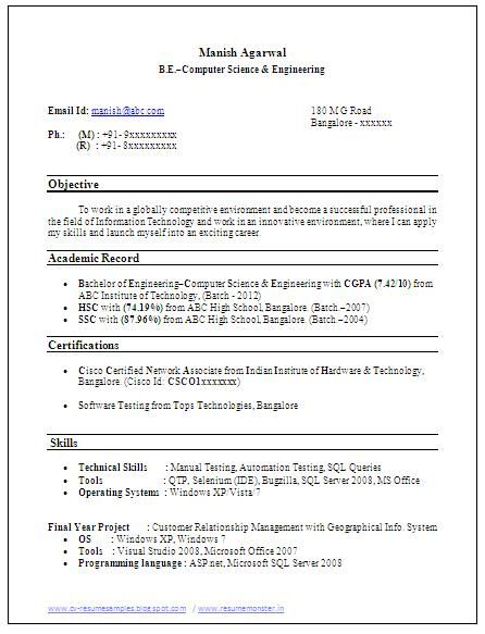 Sample Template Example of Beautiful Excellent Professional Curriculum Vitae / Resume / CV Format with career objective, Job Profile and Work Experience for Fresher's and Experienced in Word / Doc / Pdf Free Download (Click Read more Viewing and Downloading the sample)  ~~~~ Download as many CV's for MBA, CA, CS, Engineer, Fresher, Experienced etc / Do Like us on Facebook for all Future Updates ~~~