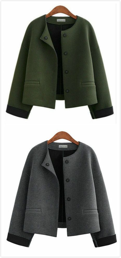 Round Neck Collarless Coat with Buttons and Pockets