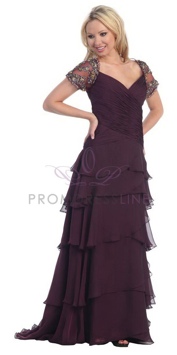 Click to enlarge : Plum Elegant Chiffon V-neck Gathered Layered Long Bridesmaid Gown with Short Sleeves - LT5208