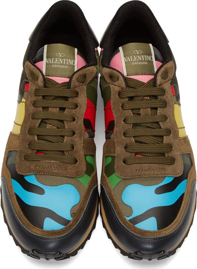 Valentino Khaki Multicolor Suede & Leather Patchwork Sneakers