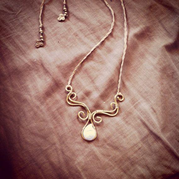 MAGICAL BRASS & PEARL necklace weddind jewelry by ArtOfGoddess, ₪190.00