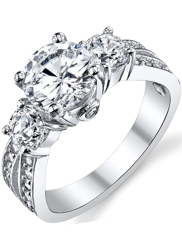 Ultimate Metals Co. 1.50 Carat Round Brilliant Cubic Zirconia ' Past, Present, Future' Sterling Silver 925 Wedding Engagement Ring * Click image for more details. #Rings