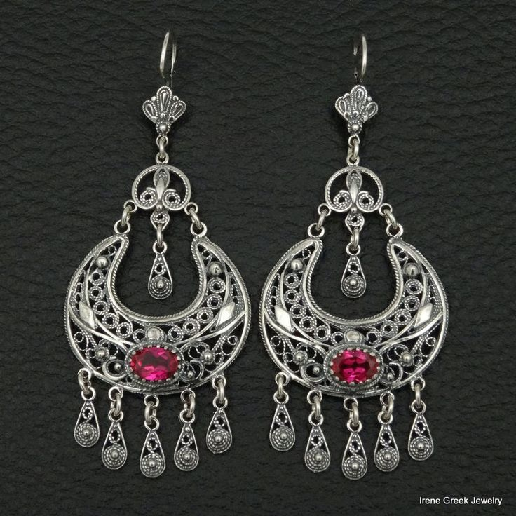 RARE LUXURY PINK RUBY CZ FILIGREE STYLE 925 STERLING SILVER GREEK ART EARRINGS #IreneGreekJewelry #Chandelier