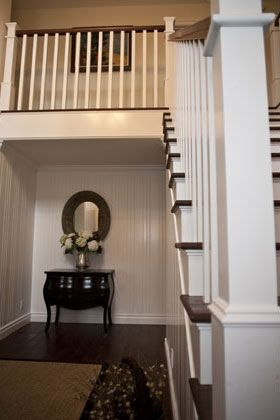 New England Style,Traditional, Classic Hallway and Stair Case Includes: Wood Floors, Wood Railing, Wood Stair Steps, Paint & Stained Railing and Steps