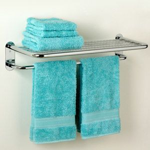 Zenith Hotel Towel Shelf, Chrome from WalMart - you could use this for a small pot rack, with hooks!