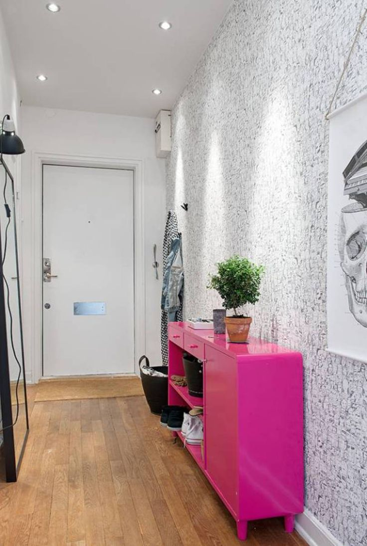 Home Design and Decor , Great Small Hallway Decorating Ideas : Small Hallway Decorating Ideas With Wallpaper And Pink Table