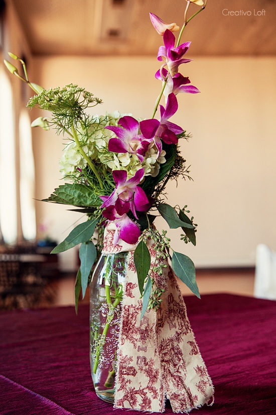 Simple dendrobium orchid centerpieces made with our