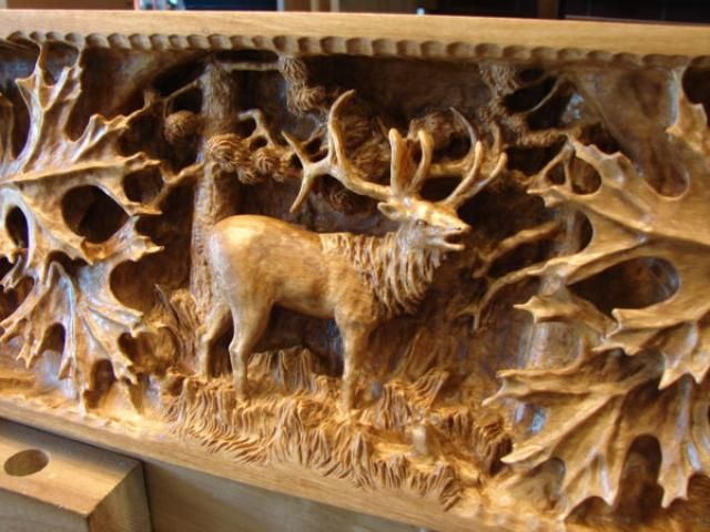 Deep relief wood carving mantle jerry mifflin