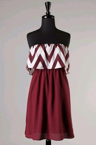 Womens Game Day Chevron Ruffle Dress Maroon White Mississippi State Texas A M   eBay