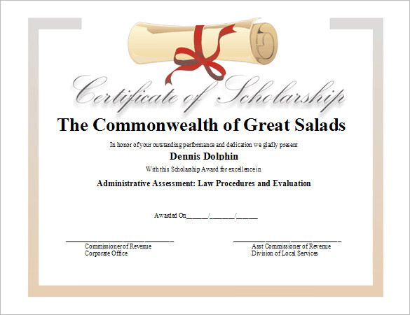 11 Scholarship Certificate Templates Free Word Pdf Awards Certificates Template Certificate Templates Certificate Template