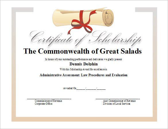 11 Scholarship Certificate Templates Free Printable Word Pd Certificate Templates Certificate Of Achievement Template Free Printable Certificate Templates
