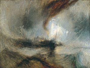 William Turner; Tempesta di neve: pioscafo fuori dall'imboccatura di un porto; 1842; olio su tela; Tate Britain, Londra.