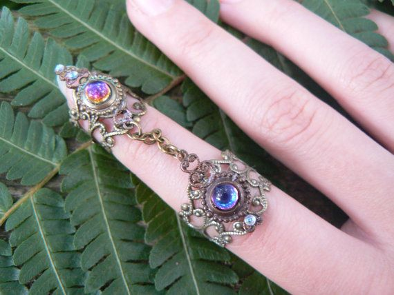 armor ring double chained  ring SALE 24.00 nail ring  claw ring nail tip ring knuckle ring  vampire goth victorian goddess pagan boho gypsy on Etsy, $24.00
