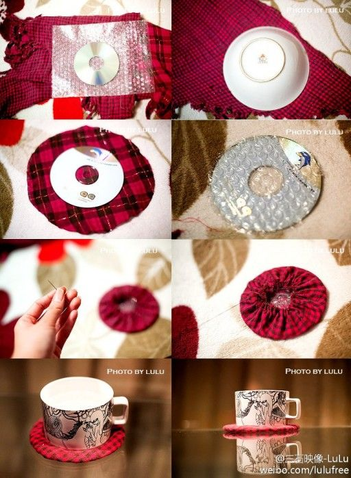 How to make lovely coaster with recycled CD - #crafting, #crafts, #diy