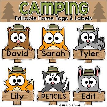 Camping Theme Classroom Decor - Name Tags and Labels