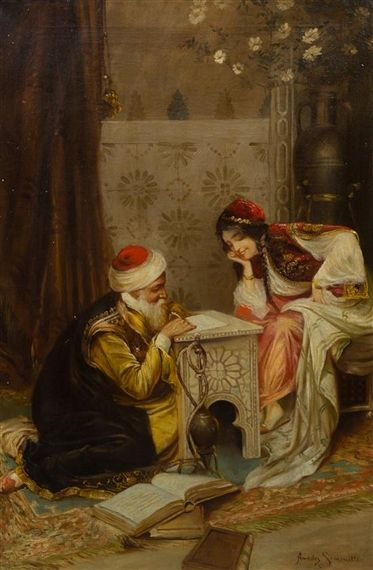 Writing a letter. Mid 1800s. Art Amedeo Simonetti - oil on canvas.
