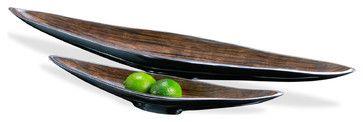 Dressler Modern Silver Chestnut Long Serving Bowls- Set of 2 transitional-platters