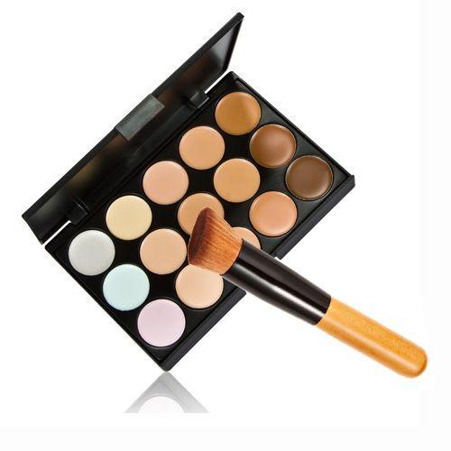 New Hot venda profissional 15 cores corretivo creme Facial Care camuflagem maquiagem paletas com escova cosmética alishoppbrasil