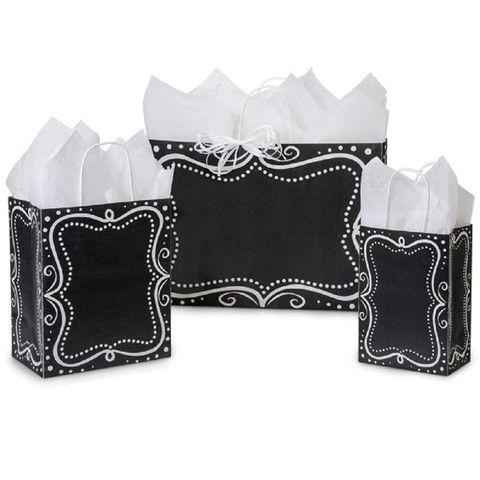 Paper Shopping Bags Chalkboard Borders Theme - 40% Recycled White Kraf – B2BWraps.com