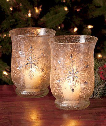 Beautiful White Frosted Glass Jeweled Hurricanes Candle Holders with a snowflake and glittering jewels on the front and back. Would look great in your home.