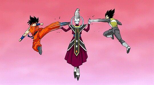 Goku and Vegeta training with Whis