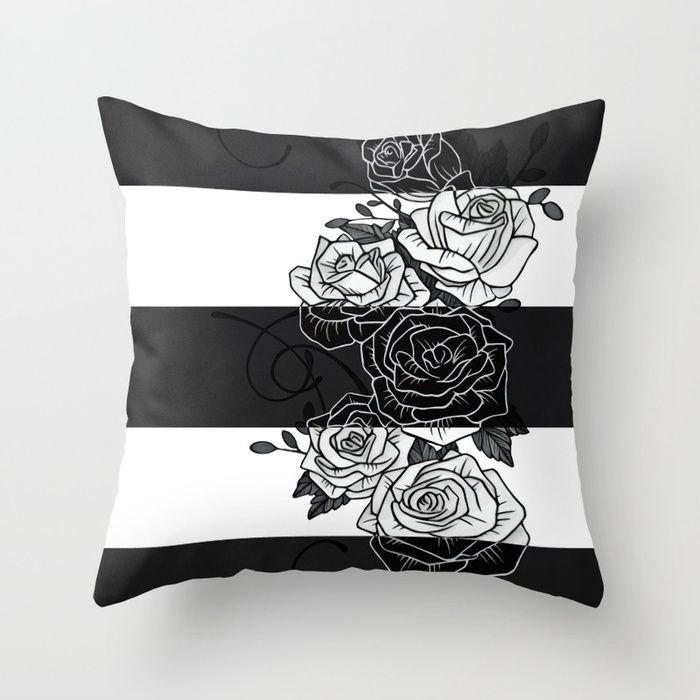 Inverted Roses Pillow. Throw Pillow made from 100% spun polyester poplin fabric, a stylish statement that will liven up any room. Individually cut and sewn by hand, each pillow features a double-sided print and is finished with a concealed zipper for ease of care.  Sold with or without faux down pillow insert. #roses #rose #flower #swirls #blackandwhite #striped #stripes #inverted #pillow #homedecor