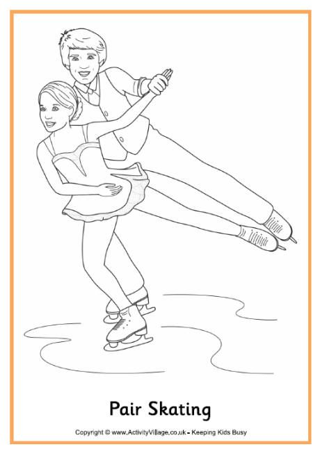 Pair skating colouring page