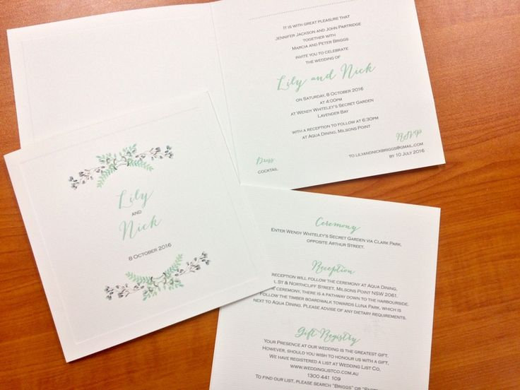 Spring wedding invitation, floral design on the front, extra info on the back #fineinvitations #sydneywedding