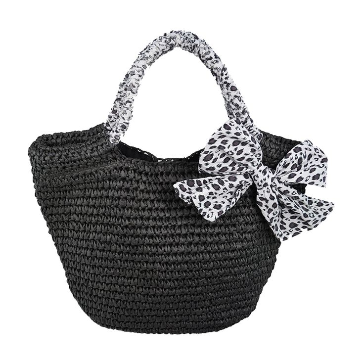 Black straw crochet tote bag with bowknot trim