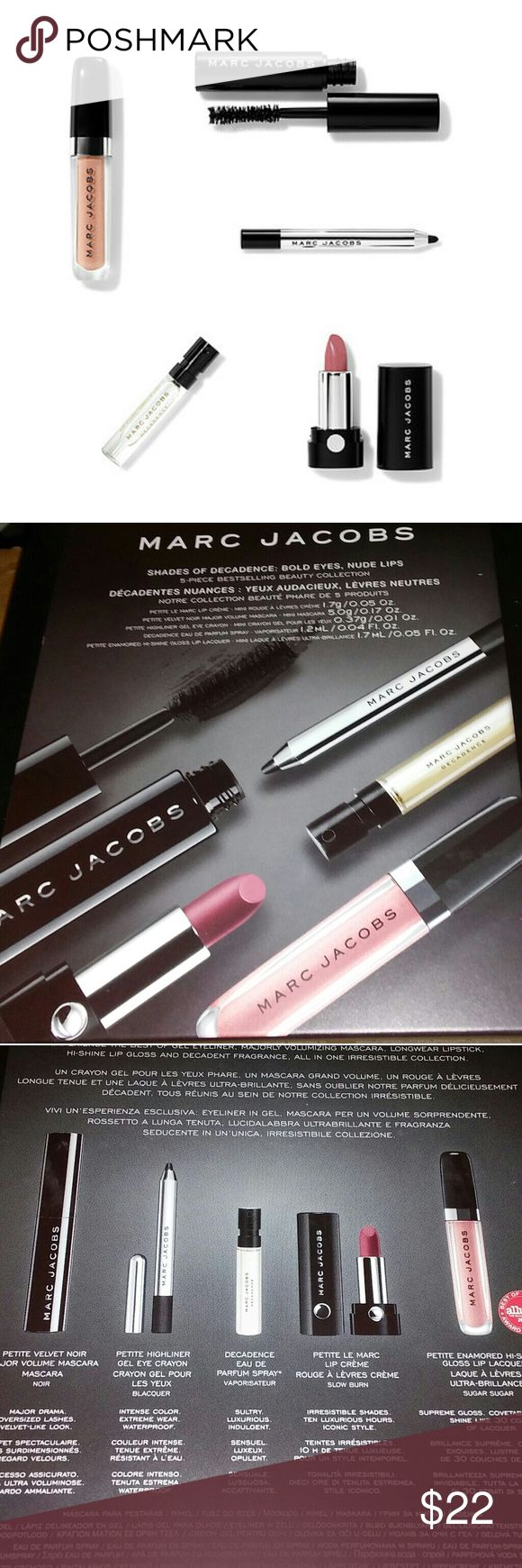 BNIB LE Marc Jacobs Shades of Decadence Set! Gift BNIB LE Marc Jacobs Shades of Decadence 5 Piece Collection. This would make an amazing stocking stuffer or white elephant gift! More: Touch-up on the go with this must-have collection of five minis from Marc Jacobs Beauty, including ultra-volumizing mascara, an intense waterproof eyeliner, a creamy 10-hour lipstick, a high-shine gloss, and a floral Eau De Parfum.  #marcjacobs #decadence #highliner #eyeliner #mascara #lipcreme #liplacquer…