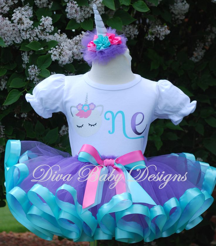 Sleeping Unicorn One Two Three four five Ribbon Trim Birthday Tutu Outfit