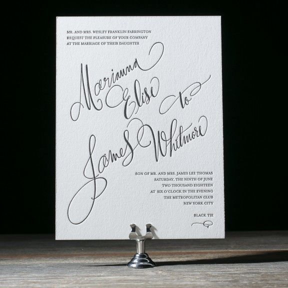 With whimsical, oversized hand calligraphy accents, Belperron is a modern yet formal wedding invitation with style - ideal for an urban wedding in the city.